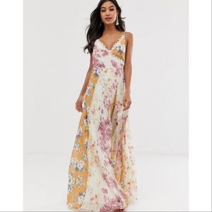 NWT ASOS DESIGN Maxi Dress in Mixed Floral Size 4